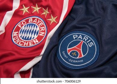 BANGKOK, THAILAND - AUGUST 31: The Logo of  Bayern Munich  and Paris Saint German on Football Jerseys on August 31 ,2017  in Bangkok Thailand.