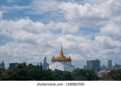 Bangkok, Thailand - August 4, 2018 : The Golden Mount or Phu Khao Thong at Wat Saket is one of the Bangkok's oldest temples.
