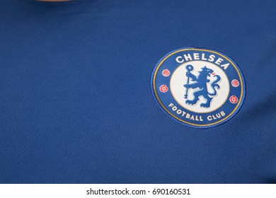 BANGKOK, THAILAND - AUGUST 4: The Logo of Chelsea Football Club on the Jersey on August 4,2017 in Bangkok Thailand.