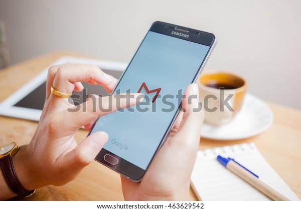 Bangkok, Thailand - August 4,2016:Smart phone displaying Gmail application.