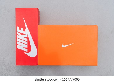 BANGKOK, THAILAND - AUGUST 5, 2018: Nike box shoes on cement floor,  Nike, Inc. is an American multinational corporation that designs, develops, manufactures and sells footwear and other items