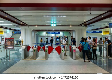 Bangkok, Thailand - August 5, 2019 - A newly opened MRT Sanam Chai Station as part of MRT Blue Line extension.