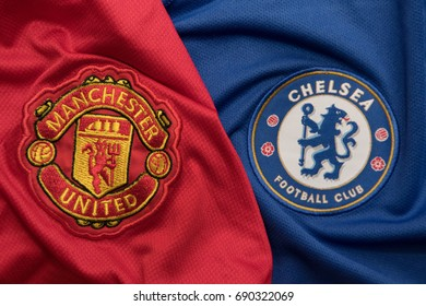 BANGKOK, THAILAND - AUGUST 5: The Logo of Manchester United and Chelsea on Football Jerseys on August 5 ,2017  in Bangkok Thailand.