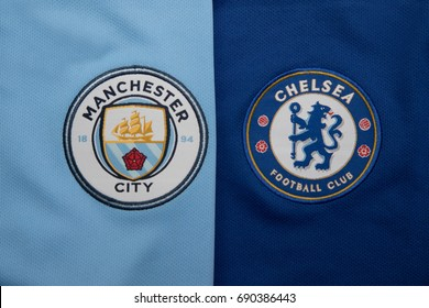 BANGKOK, THAILAND - AUGUST 5: The Logo of Manchester City and Chelsea on Football Jerseys on August 5 ,2017  in Bangkok Thailand.