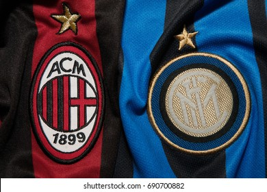 BANGKOK, THAILAND - AUGUST 5: Logo of AC Milan and Inter Milan  Football Club on the Jersey on August 5,2017 in Bangkok Thailand.