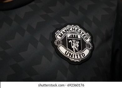 BANGKOK, THAILAND - AUGUST 5: The Logo of  Manchester United Football Club on the Jersey on August 5,2017 in Bangkok Thailand.