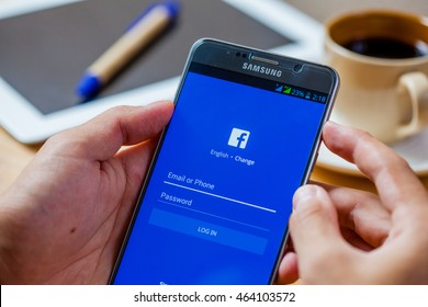 Bangkok, Thailand - August 5,2016: Facebook is an online social networking service founded in February 2004 by Mark Zuckerberg with his college roommates and is now a fortune 500 company.