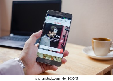 Bangkok, Thailand - August 5,2016: Samsung note5 Airbnb application on the screen. Airbnb is a website for people to list, find, and rent lodging.