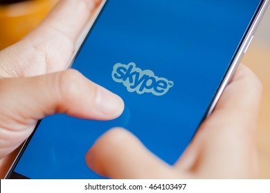 Bangkok, Thailand - August 5,2016: Skype login screen on iPhone with keyboard on the side. Skype was founded in 2003