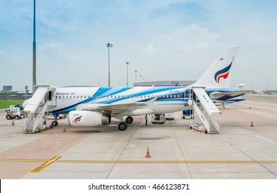 Bangkok Thailand August, 5-2016:Bangkok Airways - Airbus A319-131 parking before departure at Suvanabhumi Airport.