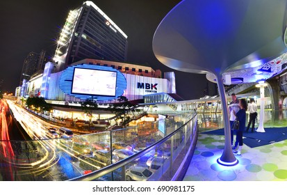 BANGKOK, THAILAND - August 5,2017: Fisheye view MBK Center after new renovated sky walk of MBK Shopping Center.  restaurants, IT product, mobile phone. Bangkok, Thailand.
