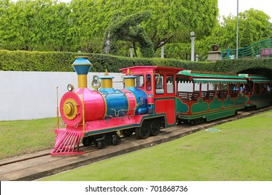BANGKOK, THAILAND - AUGUST 6, 2017 : Steam train for children's in amusement park at Dreamworld in Bangkok during the holiday weekend.