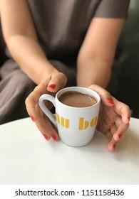 Bangkok Thailand, August 6, 2018: Au Bon Pain coffee cup close up in Au Bon Pain shop