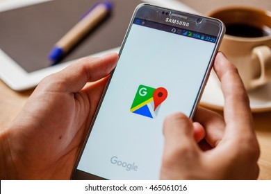 Bangkok, Thailand - August 6,2016: Google Maps forSamsung note5 . Its location service can work with or without a GPS receiver. Build for Android and iOS.