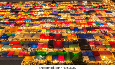 Bangkok, Thailand - August 6,2016 : The Train Night Market Ratchada, also known as Talad Nud Rod Fai, is only a two-minute walk from the MRT.
