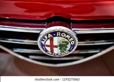 BANGKOK, THAILAND - AUGUST 7, 2018: The Alfa Romeo Milano logo on front grill of classic Spider model. Illustration of rare badge and car restoration . Collectible emblem for classic retro car