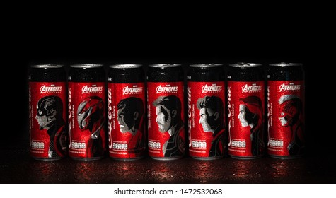 Bangkok, Thailand - August 7, 2019. Collection of Coke cans with a pattern of AVENGERS teams, Captain america, Iron man, Hulk, Thor, Hawk eye, Black widow, Captain marvel in a Avengers : Endgame movie