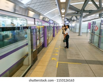 Bangkok, Thailand - August 8, 2018: People passenger at MRT Purple Line Tao Poon station. Many people in Bangkok use skytrain to save time. lifestyle of people in Bangkok, Thailand.