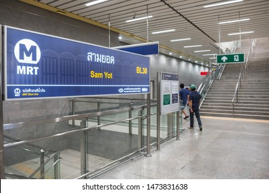 Bangkok, Thailand August 8, 2019. Signage at the newly open MRT Sam Yot station, an underground train station in Bangkok.