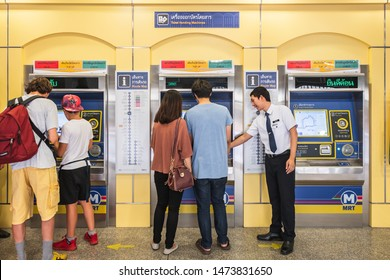 Bangkok, Thailand August 8, 2019. People at the ticket machine at the newly open MRT Sam Yot station, an underground train station in Bangkok.