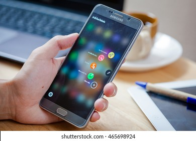 Bangkok, Thailand - August 8,2016: New Smartphone Samsung Galaxy Note 5 with S Pen unpacking.The display 5.7 inch QHD 518 ppi and camera 16MP. Galaxy Note 5 developed by Samsung Electronics co.ltd
