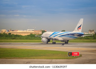 Bangkok, Thailand - August 9, 2017: Airbus airplane of Bangkok Airways (a regional airline based in Bangkok) is taxiing before taking off at Suvarnabhumi Airport. The airline was established in 1968.