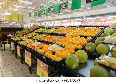 BANGKOK, THAILAND - AUGUST 9, 2017: Fruit department that has various of fruit, at Big C BangBon, Big C Supercenter general merchandise retailer headquartered in Bangkok, Thailand