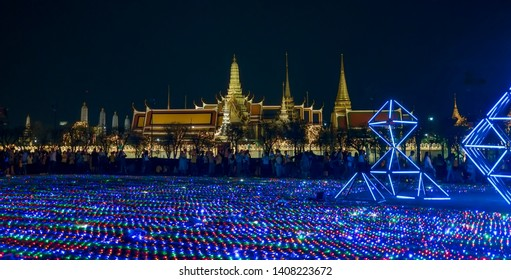 Bangkok Thailand Celebrating the celebration of the coronation ceremony on 26 may 2019.Show the light, colors, flowers and lights decorated at the Grand Palace bangkok .