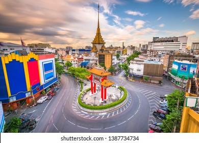 Bangkok, Thailand Chinatown roundabout at dusk.