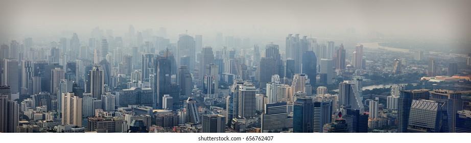 BANGKOK, THAILAND - CIRCA APR 2013: Modern city view of Bangkok. Cityscape.
