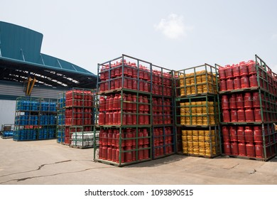 BANGKOK, THAILAND- CIRCA APRIL 2018-Gas cylinders ready for shipment for domestic used and export worldwide at  Sahamitr Pressure Container Public Co., Ltd., the largest manufacturer in Thailand.