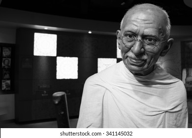 BANGKOK, THAILAND - CIRCA August, 2015: Wax figure of the famous Mahatma Ghandi from Madame Tussauds, Siam Discovery, Bangkok