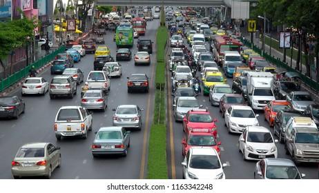 BANGKOK,  THAILAND - CIRCA AUGUST 2018 : Scenery of busy street around SIAM train station.