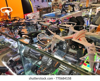 BANGKOK, THAILAND - CIRCA DECEMBER, 2017: Varieties of Drones sold in Thailand