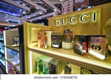 BANGKOK, THAILAND - CIRCA JANUARY, 2020: close up shot of Gucci perfumes on display at duty-free store in Suvarnabhumi Airport.