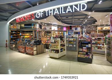 BANGKOK, THAILAND - CIRCA JANUARY, 2020: goods on display in a store at Suvarnabhumi Airport.