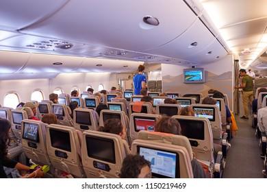 BANGKOK, THAILAND - CIRCA JUNE, 2015: seats in economy class on Emirates Airbus A380-800.