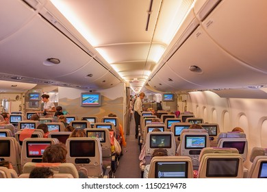 BANGKOK, THAILAND - CIRCA JUNE, 2015: seats in economy class on Emirates Airbus A380-800.