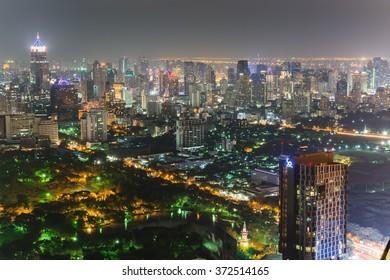Bangkok, Thailand - Circa November 2013 - view over lumphini park and bangkoks skyline at night