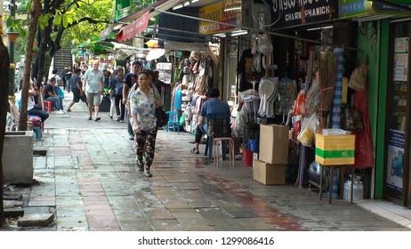 BANGKOK,  THAILAND - CIRCA OCTOBER 2018 : Scenery of SUKHUMVIT ROAD between BTS NANA station and BTS ASOK station.