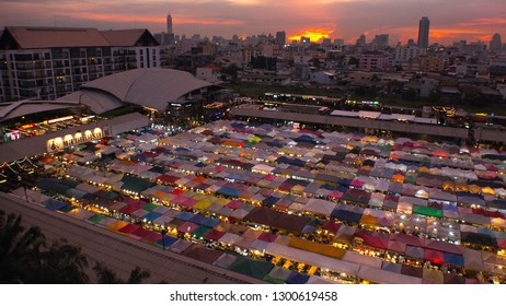 BANGKOK,  THAILAND - CIRCA OCTOBER 2018 : View of RATCHADA ROT FAI NIGHT MARKET in sunset time.
