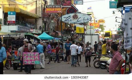 BANGKOK,  THAILAND - CIRCA OCTOBER 2018 : Scenery of KHAO SAN ROAD.