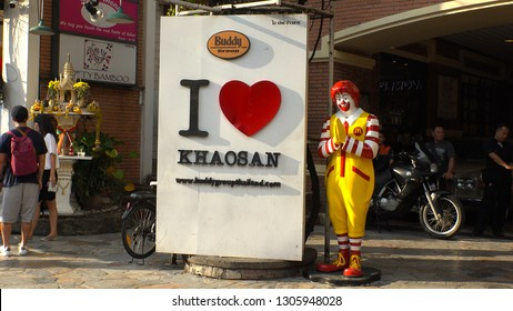 BANGKOK,  THAILAND - CIRCA OCTOBER 2018 : RONALD McDONALD and sign of I LOVE KHAOSAN in front of McDONALD'S at KHAO SAN ROAD.