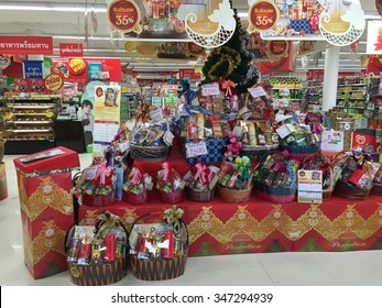 BANGKOK, THAILAND - DEC 04, 2015: TOPP's supermarket show New Year Gift Basket lineup in Supermarket.