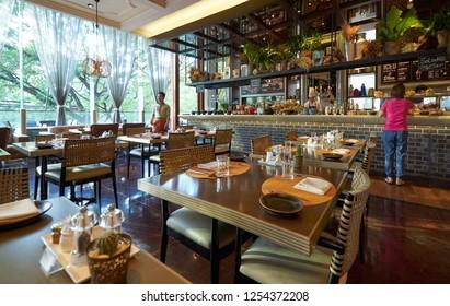 Bangkok , Thailand - DEC 05 , 2018 : Luxury interior of hotel restaurant in Hotel Indigo . Hotel located near Wireless Road, Bangkok.