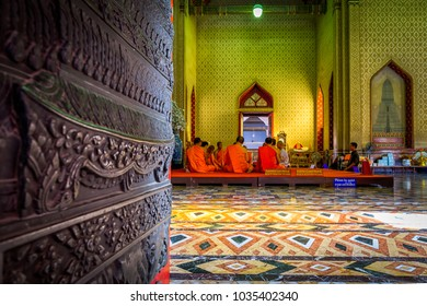 Bangkok, Thailand Dec. 1, 2017 : Thai monk ritual for change man to monk in ordination ceremony in buddhist in Wat Benchamabophit, Bangkok, Thailand