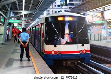 BANGKOK, THAILAND - DEC 1 : BTS Skytrain or The Bangkok Mass Transit System running on sukhumvit line on December 1, 2018 in Bangkok. BTS Route has been designed to help people discover Bangkok.
