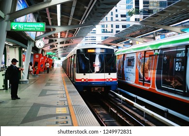 BANGKOK, THAILAND - DEC 1 : BTS Skytrain or The Bangkok Mass Transit System running on sukhumvit line on December 1, 2018 in Bangkok. BTS Route has been designed to help people discover Bangkok.