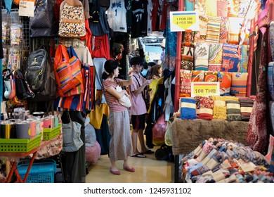 BANGKOK, THAILAND - DEC 1 : Tourist are shopping at Chatuchak Market on December 1, 2018 in Bangkok, Thailand. Chatuchak Market is the largest market in Thailand.