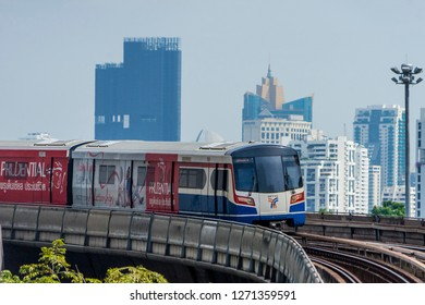 BANGKOK , THAILAND DEC 10, 2018 : BTS Sky Train is running in downtown of Bangkok. Sky train is fastest transport mode in Bangkok